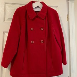 Red wool coat, inverted pleat at back.